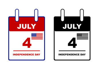 Independence day calendar isolated on white