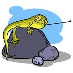 Funny cartoon lizard. Vector illustration