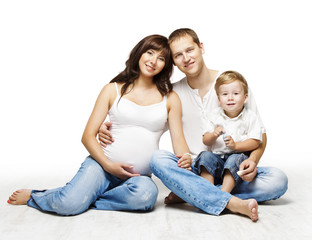 Family Portrait, Pregnant Mother Father Child Boy, Parents Kid