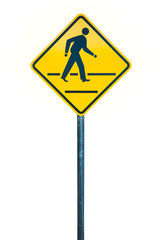 Traffic crossing yellow sign