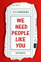 We Need People Like You newspaper advertisement