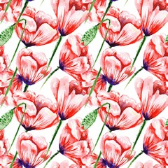 White Pattern with Watercolor Poppies