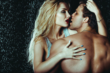Heterosexual Couple of Attractive Man And Woman Sexualy Wet Posi