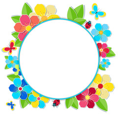 Bright frame with flowers, butterflies and ladybug. Round summer