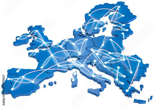 Leinwanddruck Bild Europa vernetzt