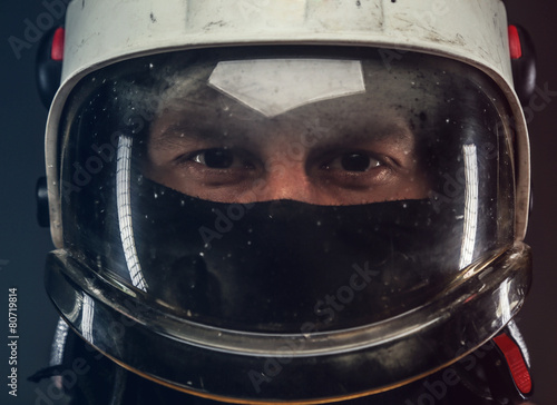 Male in firefighter helmet - 80719814