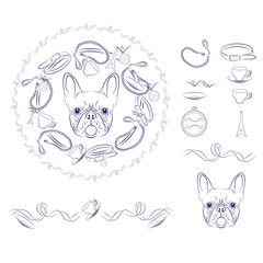 Set of vector accessories for French Bulldog.