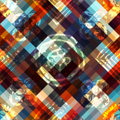Abstract geometric pattern with grunge ornamental elements.
