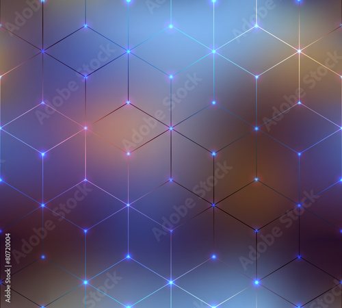 Abstract cubes pattern on blurred background.