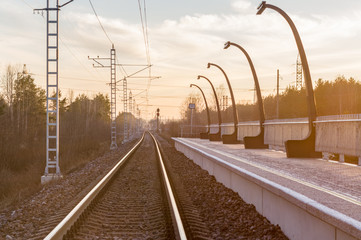 Railway track at a small railroad station