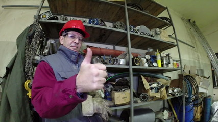 Industrial Worker Showing Thumbs Up