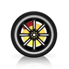 3d tire and alloy wheel  ,on white background