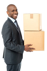 African corporate man holding card box