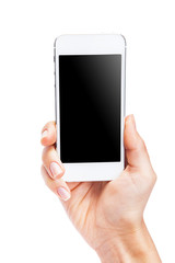 Hand holding White Smartphone with blank screen on white backgro