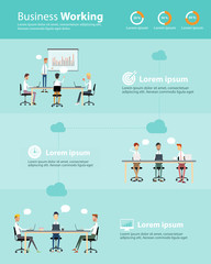 infographic business people team working cloud set