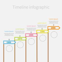 Arrow Flag sticks Timeline Infographic  dash circles text Flat