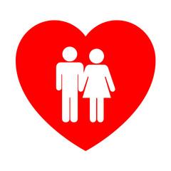 Icono corazon simbolo boda