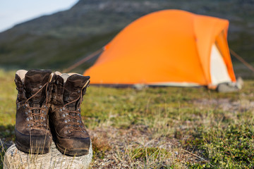 Tent and hiking boots