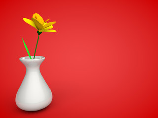 Flower in a vase in red room