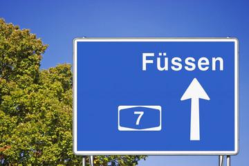 Schild A7 Richtung Füssen