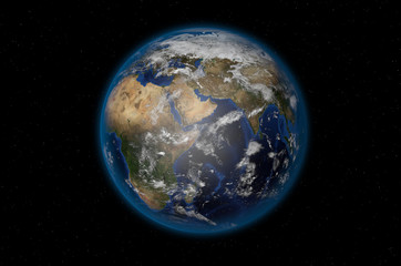 3D render of realistic planet Earth