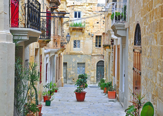 Typical Mediterranean patio, La Valletta, Malta