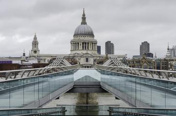 Saint Paul`s cathedral from millennium bridge, London