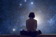 Girl watching the starry skies. - 80722414
