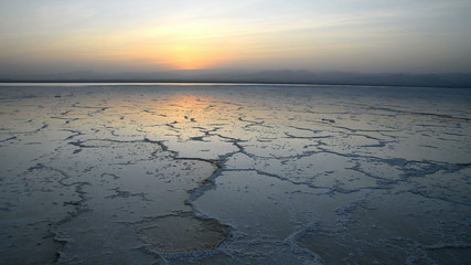 Salt lake in the Danakil Depression, Ethiopia, Africa