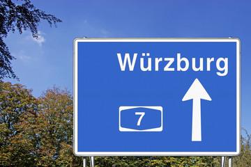 Schild A7 Richtung Würzburg