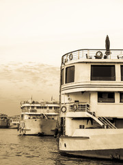 Monochromatic photo with old cruise ships