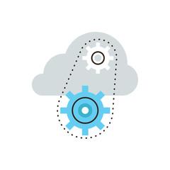 Cloud computing flat line icon concept