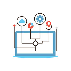Computer networking flat line icon concept