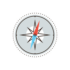 Navigational compass flat line icon concept