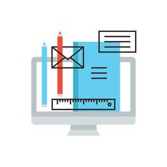 Designer equipment flat line icon concept