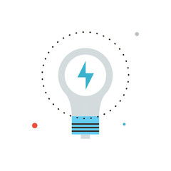Save energy flat line icon concept