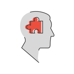 Success solution flat line icon concept