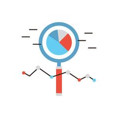 Market analysis flat line icon concept