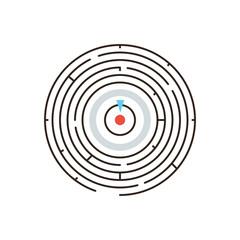Circular labyrinth flat line icon concept