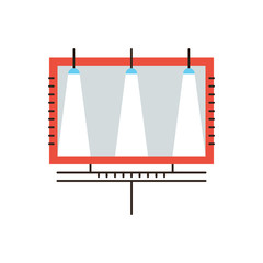 Outdoor advertising flat line icon concept