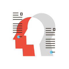 Personal information flat line icon concept
