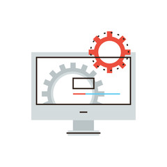 Computer installation flat line icon concept