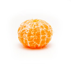 clementine with segments on a white background