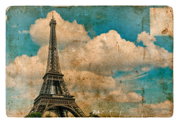 Vintage style postcard from Paris with Eiffel Tower. Grunge text