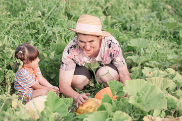 baby and grandmother in garden