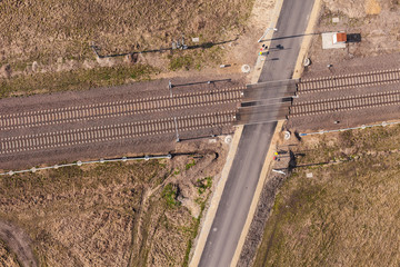 aerial view of the railway crossroad