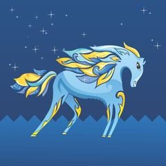 Blue Night Horse Illustration