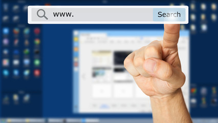 Hand clicking a search button