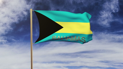Bahamas flag with title waving in the wind. Looping sun rises