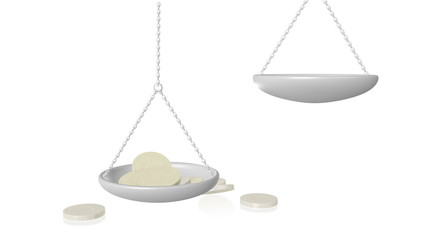 Falling coins tip the balance in weighing scales.